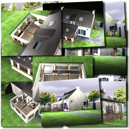 renderings: Collage with images of house renderings Stock Photo