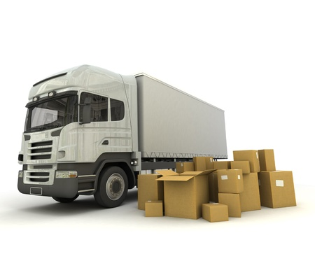 3D rendering of a truck and a group of cartons photo