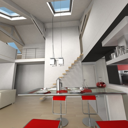 loft apartment: 3D rendering of the dining area in an impressive loft