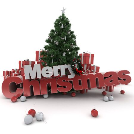 cor: 3D rendering of a Christmas décor, with the words Merry Christmas Stock Photo