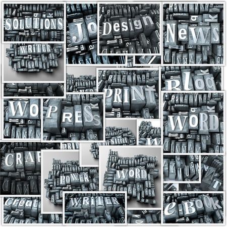 Collage with different renderings of vintage metallic typescript letters photo
