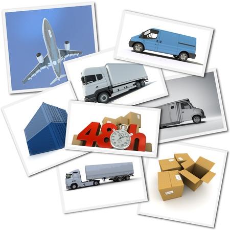 corriere: Collage di immagini relative al trasporto di merci urgenti