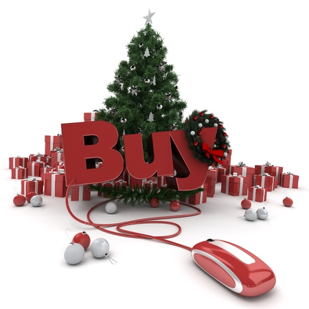 cor: 3D rendering of a Christmas décor, and the word buy connected to a computer mouse Stock Photo