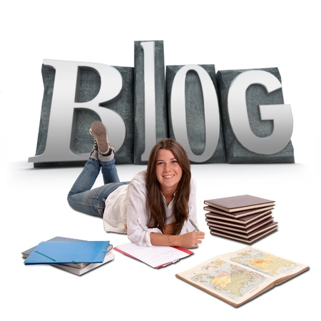 blogger:  Isolated image of a Young girl studying lying on the floor with BLOG written on the background