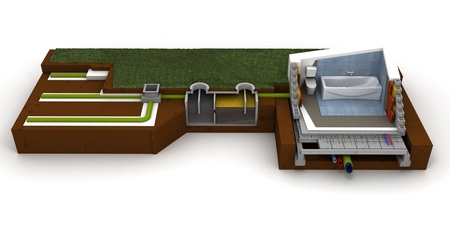 aguas residuales: Representación 3D de una sección transversal casa mostrando baño y sistema de alcantarillado
