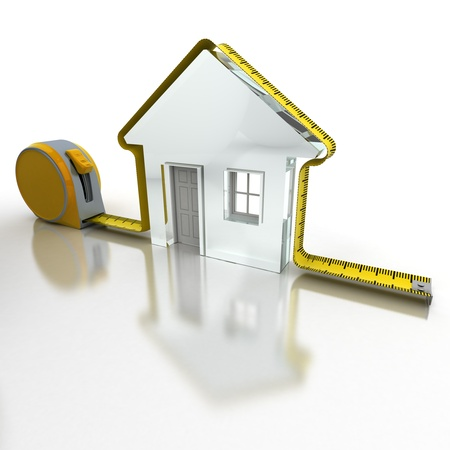 addition symbol: 3D rendering of a tape measure in the shape of a house