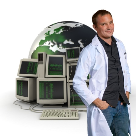 it technician:   Technician in a white robe on a background of computers and the Earth