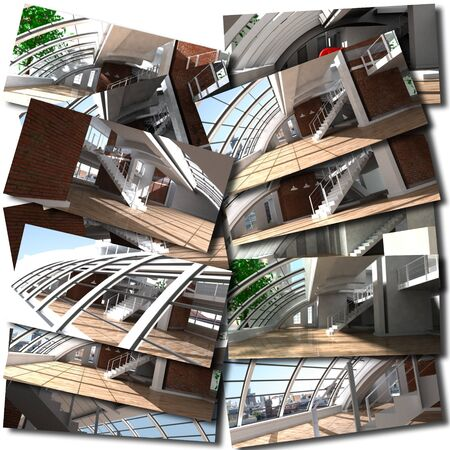 Collage with renderings of loft interiors photo