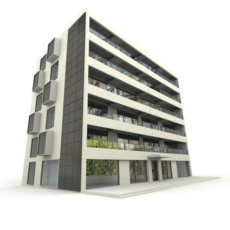 3D-weergave van een modern appartementencomplex
