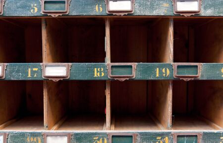 Old retro cubbyhole, with labels,  ideal for backgrounds photo