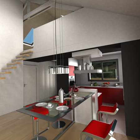 food distribution: 3D rendering on an open plan kitchen