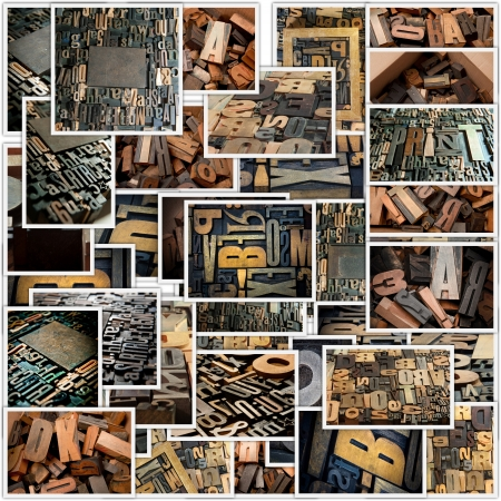 Collage with different photos of vintage wooden typescript letters photo