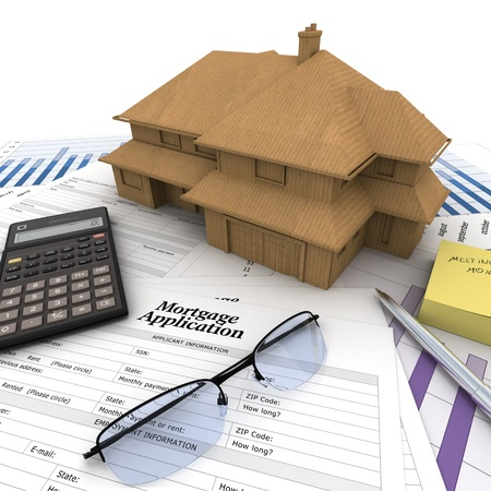 business credit application: A house on top of a table with mortgage application form, calculator, blueprints, etc..  Stock Photo