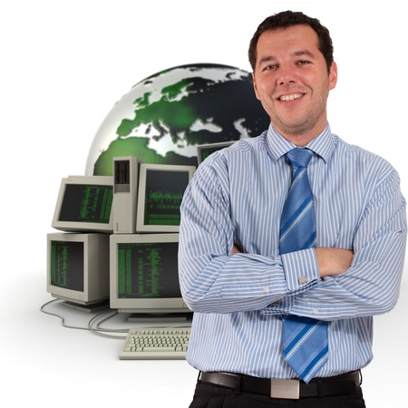 computer programmer:   Professional man with a world map and piles of computers