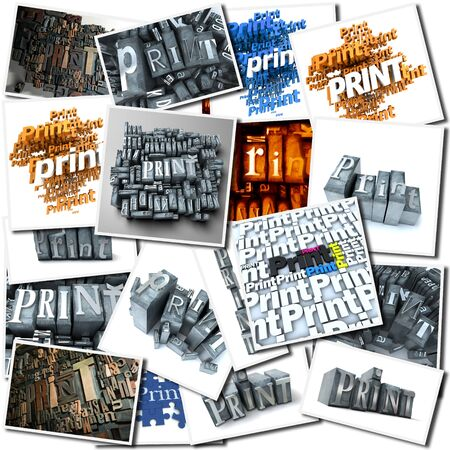 Collection of images with the word print Stock Photo - 16667402