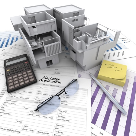 A building on top of a table with mortgage application form, calculator, blueprints, etc    Stock Photo - 16667349