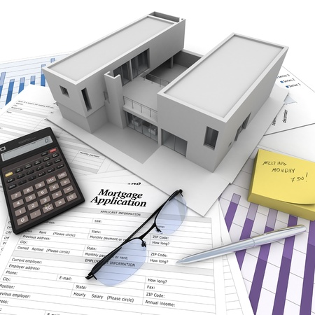 business credit application: A building on top of a table with mortgage application form, calculator, blueprints, etc..