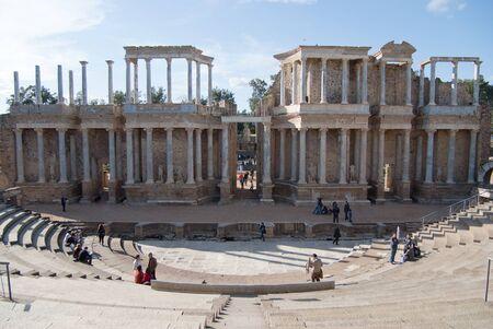 merida: Roman theater ruins in Merida, Spain