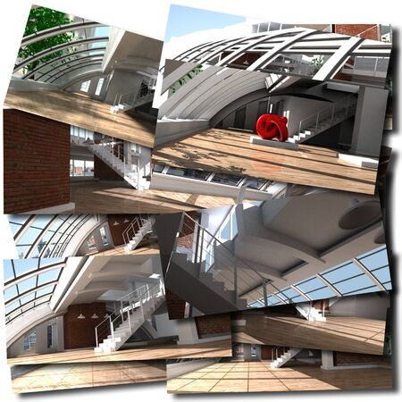 Collage with renderings of loft interiors Stock Photo - 17314972
