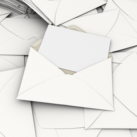 scattered: 3D rendering of an open envelope and a blank, card on top of a stack of scattered correspondence