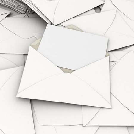 correspondencia: Representaci�n 3D de un sobre abierto y una tarjeta en blanco, en la parte superior de una pila de correspondencia dispersa
