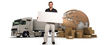 A man holding a blank message board with piles of packages, a truck and the Earth on the background Stock Photo - 17417496