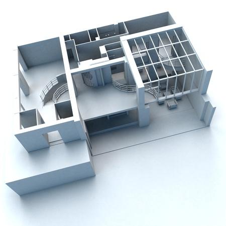 aspect: White architecture model with a modern aspect