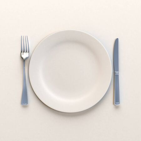 dinning table: 3D rendering of a white dish with knife and fork