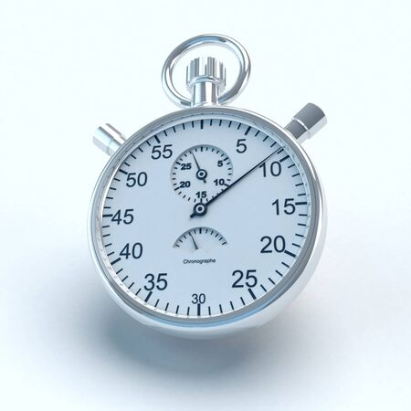 seconds: 3D rendering of an stopwatch ticking seconds away