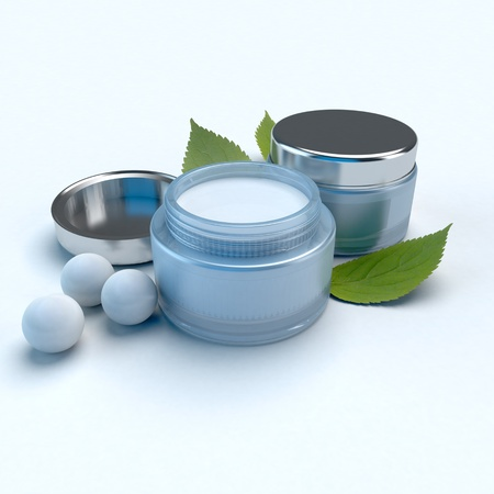 dermatology: Beauty creams composition with pearls and herbs Stock Photo