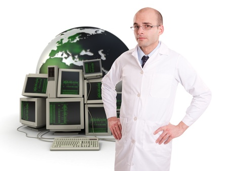 a white robe:   Technician in a white robe on a background of computers and the Earth