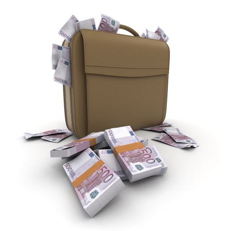 bribe: A briefcase full of cash in five hundred euro  bills Stock Photo