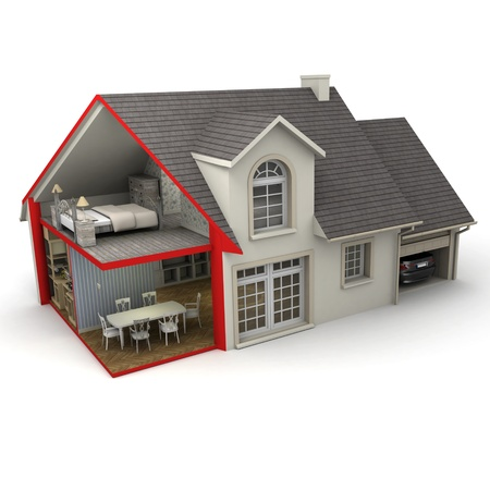 3D rendering of a house showing exterior and interior Stock Photo - 17952387
