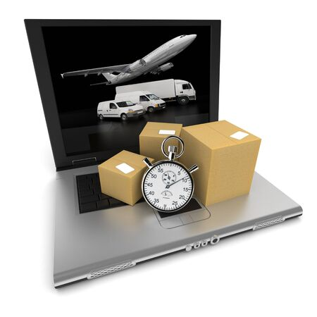 courier delivery: Open laptop with the image of a truck, a plane and a van on the screen, and cardboard boxes with a stopwatch on top of the keyboard