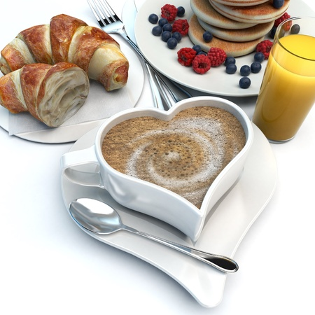 3D rendering of a heart shaped coffee cup, a croissant, pancakes with fruits and an orange juice photo