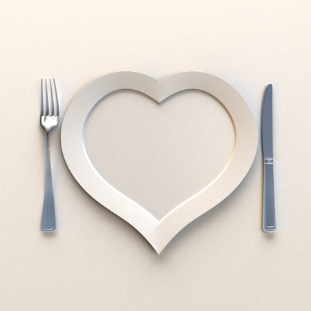 dinning table: Heat shaped dish with knife and fork