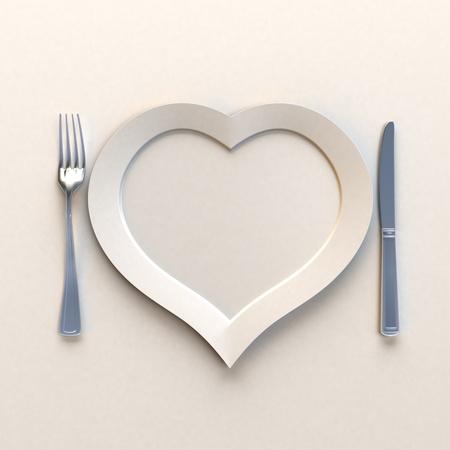 cubiertos de plata: Plato en forma de calor con cuchillo y tenedor