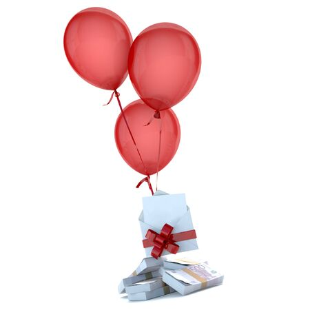 bundle of letters: Balloons floating holding a blank envelope with a card and stack of euros attached by a red bow