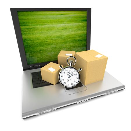 Open laptop with the image of a green lawn on the screen, and cardboard boxes with a stopwatch on top of the keyboard Stock Photo - 18015967