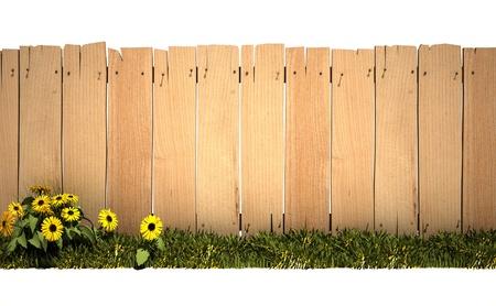 3D-rendering van een houten hek, groen gras en veel van de kopie ruimte, ideaal voor het plaatsen van een bericht of foto