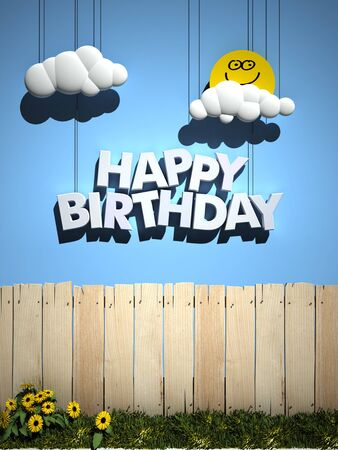 3D rendering of a wooden fence, with a blue sky , smiling sun, and happy Birthday written in the sky photo