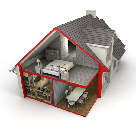 3D rendering of a house showing exterior and interior photo