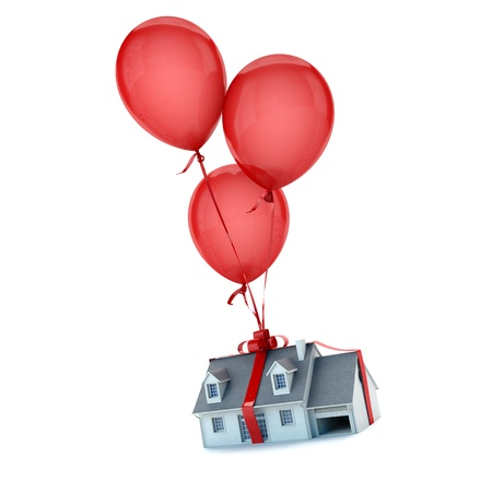 house party: Floating balloons holding a house with a tied bow