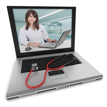 remote communication: Open laptop with a female health professional on the screen, and a stethoscope on top of the keyboard