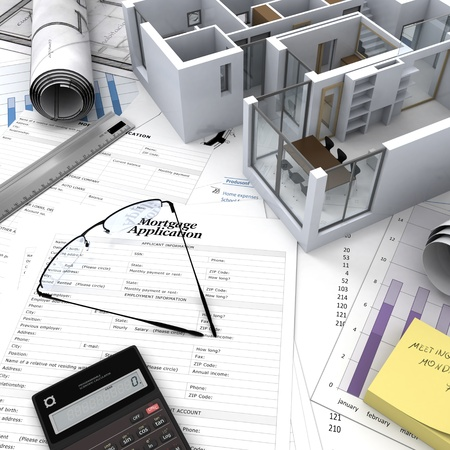 Office building with open interior on top of blueprints, documents and mortgage calculations photo
