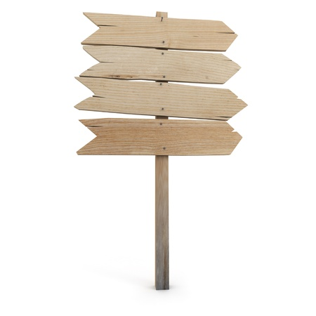 wooden signboard: 3D rendering of a wooden directional sign