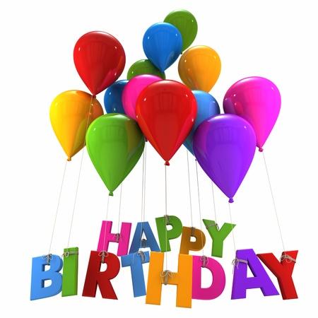 globos de cumpleaños: Representación 3D de un grupo de globos con el cumpleaños feliz palabras que cuelga de las cuerdas en tonos multicolores Foto de archivo