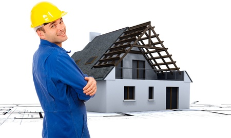 bricklayer:  Composition of the construction process with workman, house, blueprints, etc.