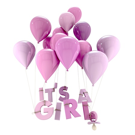 baby girl shower:  3D rendering of blue balloons with it�s a girl hanging from the strings and a pacifier