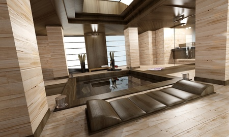 hot tub:  3D rendering of a luxurious spa in brown and beige shades